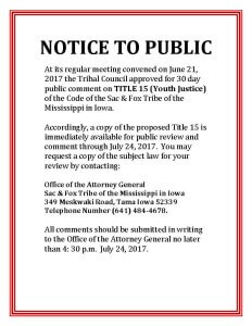 Notice To Public - Title 15 (Youth Justice)