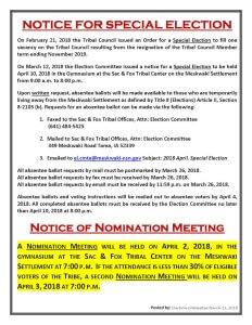 Notice For Special Election
