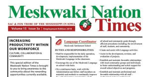 Employment Special Edition of the Meskwaki Nation Times