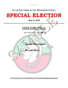 Special Election to be held Tuesday