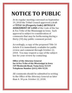 Title 16 Article II: Thirty Day Public Comment Period
