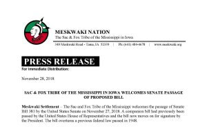 Press Release: Sac & Fox Tribe of the Mississippi in Iowa Welcomes Senate Passage of Proposed Bill