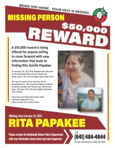 Sahnish Scouts Bring Assistance with a Renewed Search for Rita Papakee