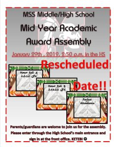 Canceled: MSS Middle/High School Awards Assembly @ MSS High School Gym