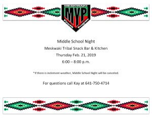 MYP: Middle School Night @ Meskwaki Tribal Center Snack Bar