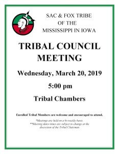Tribal Council Meeting @ Meskwaki Tribal Center - Tribal Chambers