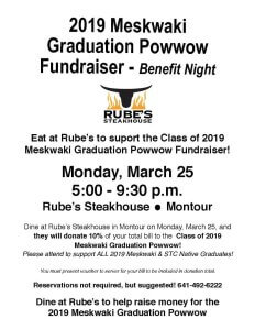 Benefit Night at Rubes for 2019 Graduation Powwow