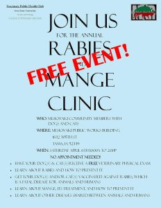 Free Rabies and Mange Clinic @ Meskwaki Public Works  | Tama | Iowa | United States