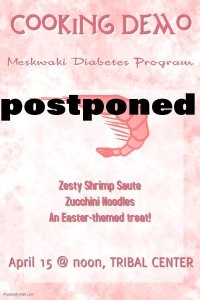 POSTPONED: Cooking Demo @ Meskwaki Tribal Center - Kitchen