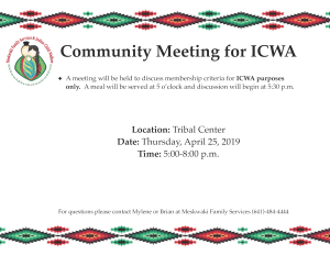 Today: ICWA Community Discussion