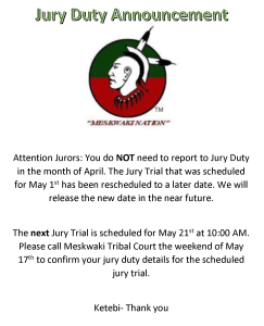 Tribal Court: Jury Duty Announcement