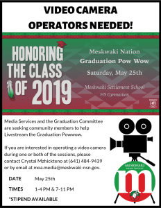 Video Camera Operators Needed for Graduation Powwow