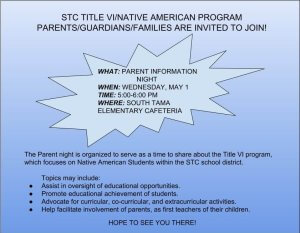 STC Title VI - Parent Information Night @ STC Elementary Cafeteria