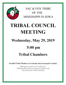 Tribal Council Meeting Scheduled @ Meskwaki Tribal Center - Tribal Chambers
