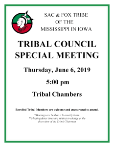 Tribal Council Special Meeting @ Meskwaki Tribal Center - Tribal Chambers