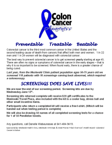 Colon Cancer Screening Kits Due 06/12/19