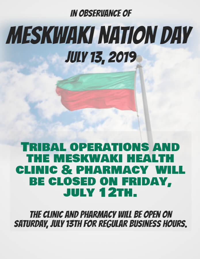 Tribal Operations, Health Clinic & Pharmacy Closed July 12