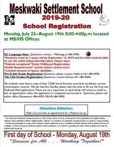MSS School Registration @ Meskwaki Settlement School