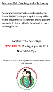 Meskwaki Child Care Program - Public Hearing
