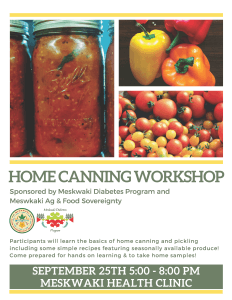 Home Canning Workshop on Wednesday, Sept. 25th!