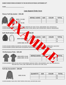 Fall Logo Apparel Order Forms