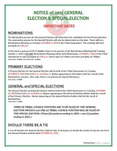 Primary Election for the General Election @ Meskwaki Tribal Center - Gymnasium