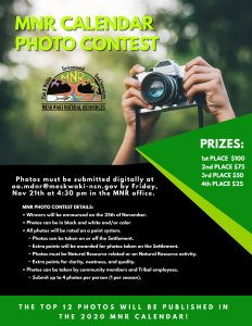 MNR Calendar Photo Contest DEADLINE @ MNR Offices