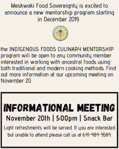 Culinary Mentorship Informational Meeting @ Tribal Center - Snack Bar