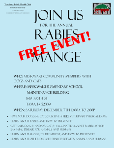 Annual Rabies and Mange Clinic @ MSS Maintenance Building | Tama | Iowa | United States