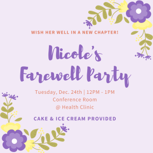 Nicole's Farewell Party @ Health Clinic Conference Room