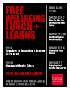 FREE Wellbeing Lunch and Learns Today at Noon